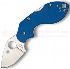 Spyderco C110GPBL Lava Lockback Sprint Run Folding Knife (1.875 Inch VG10 Satin Plain Blade) Blue G10 Handle