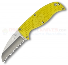 Spyderco Enuff Sheepfoot H1 Salt Fixed Blade Knife, 2.75 Inch Satin Serrated, Yellow, FB31SYL