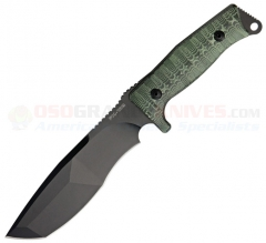 FOX Knives Trapper Tactical Knife Fixed (6.90 Inch N690Co Modified Tanto Black Plain Blade) Green Micarta Handle + Nylon Sheath FX-132MGT