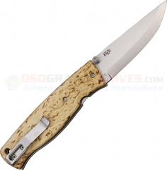 EnZo Birk 75 Scandinavian Folding Knife (2.875 Inch D2 Satin Plain Blade) Curly Birch Handle