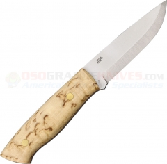 EnZo Trapper O1 Fixed 3.75 Inch O1 Carbon Tool Steel Blade, Curly Birch Handle, Brown Leather Sheath