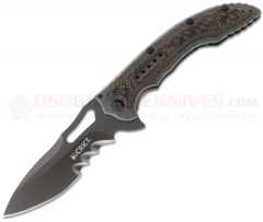 Columbia River CRKT Fossil FrameLock Folding Knife (3.96 Inch Satin Veff Serrated Blade) Stainless Steel/G10 Handle 5471K
