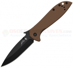 Kershaw Emerson CQC-4K Framelock Folding Knife (3.25 Inch Black Blade) Brown G10 Handle 6054BRNBLK