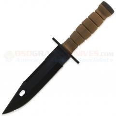 Ontario M11 EOD System Combat Knife Fixed (7.0 Inch Black Plain Sawback Blade) Kraton Coyote Brown Handle + GFN Scabbard 1982