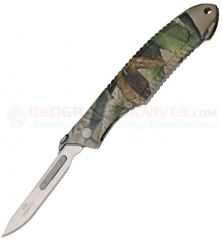 Havalon Piranta Edge Pro Trophy Skinner Folding Knife (2.75 Inch Quik Change Blade) Camo Handle, Nylon Sheath, 12 Spare Blades 60APRCAMO
