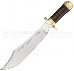 Down Under Knives Mistress Bowie Fixed (13.0 Inch 440C Mirror Polished Blade) Stacked Leather Handle + Leather Sheath DUKM