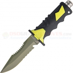Ocean Master QT500SAW-A Dive Knife Fixed 5 Inch Titanium ComboEdge Sawback Blade (Molded Plastic Sheath) OMQT500SAW