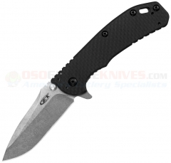 Zero Tolerance Hinderer 0566CF Assisted Opening Knife (3.25 Inch ELMAX Stonewash Blade) Black Carbon Fiber Handle with Framelock