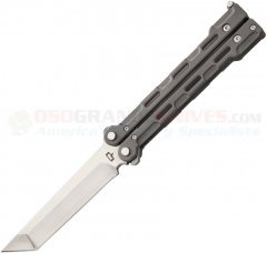 Quartermaster Knives QBS-1 Marty McFly BladeExchange Butterfly Knife (4 Inch D2 Satin Tanto Blade and Trainer Blade) Bead Blast Titanium Handles