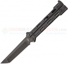 Quartermaster Knives QBS-1 Marty McFly BladeExchange Butterfly Knife (4 Inch D2 Limo Tint Tanto Blade and Trainer Blade) Black Titanium Handles QBS1-LT