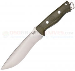 Bark River Knives Bravo Strike Force Fixed (6.75 Inch A2 Satin Plain Blade) Green Micarta Handle + Leather Sheath 118MGC