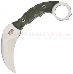 Bark River Ghost II Karambit Knife Fixed (3.5 Inch A2 Hawkbill Satin Plain Blade) Green Micarta Handle + Leather Sheath BA12113MGC