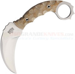 Bark River Ghost II Karambit Fixed (3.5 Inch A2 Hawkbill Blade) Antique Natural Micarta Handle + Leather Sheath BA12113NC