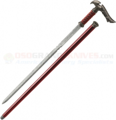 Kit Rae Axios Damascus Sword Cane (29.75 Inches Overall) Rayskin and Leather Wrapped Handle KR56