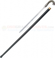 Striking Cobra Head Sword Cane (34 Inches Overall) Cast Metal Handle Black Aluminum Shaft PA1071