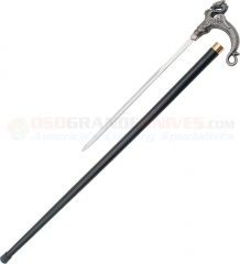 Dragon Sword Cane (34 Inches Overall) Cast Metal Handle Black Aluminum Shaft PA1072