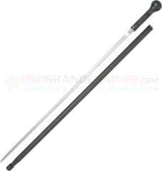 Windlass Knob Cane Sword Cane (29 Inch Rapier Double-Edge High Carbon Blade) Black Aluminum Handle and Shaft WD180