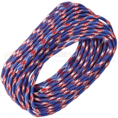 Live Fire Gear Red White Blue 550 FireCord Paracord Nylon Braided 7-Strand + 1 Tinder Core (25 Feet)