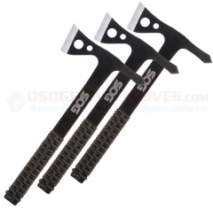 SOG Throwing Hawks Set of 3 Tomahawks (Paracord Handles) Black Nylon Sheath TH1001