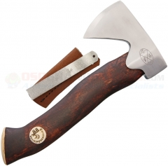 Karesuando Kniven Unna Áksu Hunters Axe (8.75 Inch Brown Curly Birch and Reindeer Antler Handle) Leather Sheath and Diamond Sharpener 3639