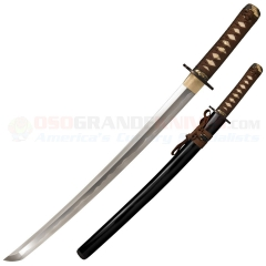 Cold Steel Mizutori Wakizashi Sword (21 Inch 1095 Carbon Steel Blade) Ray Skin Handle (Black Lacquered Wood Scabbard) 88CKW