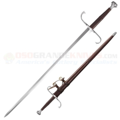 Cold Steel German Long Sword (35.50 Inch 1060 Carbon Steel Blade) Leather Scabbard 88HTB
