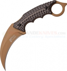 MTech Xtreme Karambit Fixed Blade Knife (3.75 Inch 440A Brown Hawkbill Blade) Black Brown G10 Handle MTX8140BN