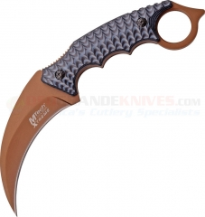 MTech Xtreme Karambit Fixed Blade Knife (3.75 Inch 440A Brown Hawkbill Blade) Black Gray G10 Handle MTX8140BT