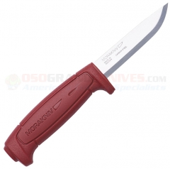 Morakniv Mora of Sweden Basic 511 Knife Fixed (3.62 Inch Carbon Steel Blade) Red Polymer Handle 1502