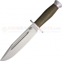 Bark River Knives Teddy II Bowie Fixed (7.50 Inch Brushed Finish A2 Tool Steel Blade) Green Canvas Micarta Handle 214MGC