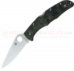 Spyderco C10ZFPGR Endura Flat Ground (3.75 Inch VG10 Satin Plain Blade) Zome Green FRN Handle