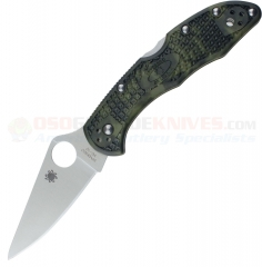 Spyderco C11ZFPGR Delica 4 Flat Ground Folding Knife (2.88 Inch VG-10 Satin Plain Blade) Zome Green FRN Handle