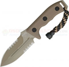 Microtech Crosshair Combat Dagger Knife Fixed (5.0 Inch Double-Edge Tan Combo Blade) Polymer Handle, Kydex Sheath 101-2TA