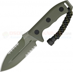 Microtech Crosshair Combat Dagger Knife Fixed (5.0 Inch Double-Edge Green Combo Blade) Polymer Handle, Kydex Sheath 101-2GR