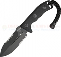 Microtech Crosshair Combat Dagger Knife Fixed (5.0 Inch Double-Edge Black Combo Blade) Polymer Handle, Kydex Sheath 101-2BL