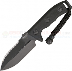 Microtech Crosshair Combat Dagger Knife Fixed (5.0 Inch Double-Edge Black Serrated Blade) Polymer Handle, Kydex Sheath 101-3BL