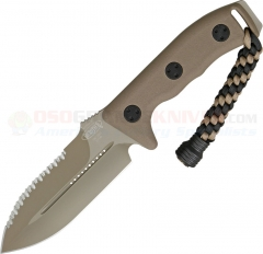 Microtech Crosshair Combat Dagger Knife Fixed (5.0 Inch Double-Edge Tan Serrated Blade) Polymer Handle, Kydex Sheath 101-3TA