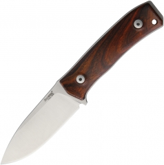 LionSteel M4 Bushcraft Knife Fixed (3.74 Inch M390 Satin Plain Blade) Cocobolo Wood Handle, Leather Belt Sheath M4CB