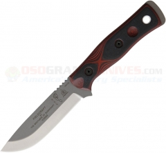 TOPS Knives BOB Brothers of Bushcraft Fieldcraft Knife Fixed (4.625 Inch 154CM Stonewash Blade) Black/Red G10 Handle, Kydex Sheath BROS154RB