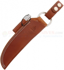 TOPS Knives Articulating Brown Leather Sheath for BOB Brothers of Bushcraft Fieldcraft Knife (Includes Ferro Rod, Survival Whistle) SHLBUSHBRN