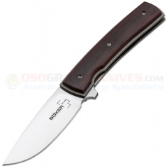 Boker Plus Brad Zinker FR Flipper Framelock Folding Knife (2.75 Inch VG10 Satin Blade) Cocobolo Wood Handle 01BO744