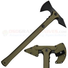 Cold Steel Trench Hawk Combat Tomahawk (8.75 Inch Drop Forged 1055HC Hawk) 19 Inch OD Green Polypropylene Handle, Secure-Ex Sheath 90PTHGZ