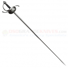 Cold Steel 88CHR Cup Hilt Rapier Sword (41.5 Inch 1055 High Carbon Blade) Ray Skin Wrapped Handle Leather Scabbard