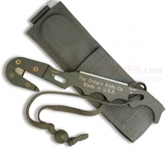 Ontario Model 1 PET Personal Egress Tool Emergency Rescue Tool Strap Cutter (NSN: 4240-01-547-5933) Foliage Green with Sheath 1406