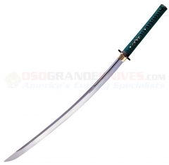 Cold Steel 88DK Dragonfly Katana Sword (29.5 Inch 1050 High Carbon Steel Blade) Teal Green Silk Cord Wrapped Ray Skin Handle Wood Scabbard