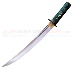 Cold Steel Dragonfly O Tanto (15.0 Inch 1055 High Carbon Steel Blade) Teal Green Silk Cord Wrapped Ray Skin Handle + Black Lacquered Wood Scabbard 88DT