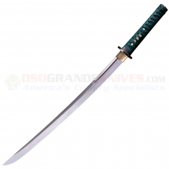 Cold Steel 88DW Dragonfly Wakazashi Sword (22 Inch 1050 High Carbon Steel Blade) Teal Green Silk Cord Wrapped Ray Skin Handle Wood Scabbard