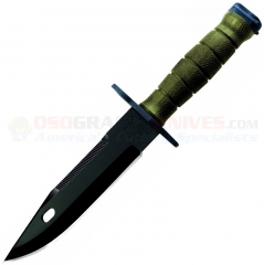 Ontario 493 M-9 Bayonet Fixed (7.0 Inch Black Sawback Blade) OD Green Thermoplastic Handle & Sheath, Fits M16, AR15 6220
