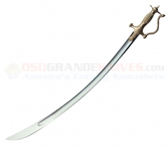 Cold Steel 88EIT Indian Talwar Sword (33 Inch 1055 Carbon Steel Blade) Brass Handle Wood/Leather Scabbard
