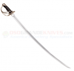 Cold Steel 88HCS US 1860 Heavy Cavalry Saber (36 Inch 1050 Carbon Steel Satin Blade) Leather Grip Steel Scabbard